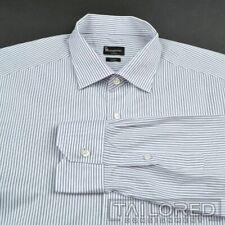ERMENEGILDO ZEGNA Trofeo Blue Striped COTTON Luxury Dress Shirt - BESPOKE 17