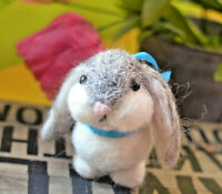 needle felted rabbit grey, easter bunny gift, needle felted animal 4""