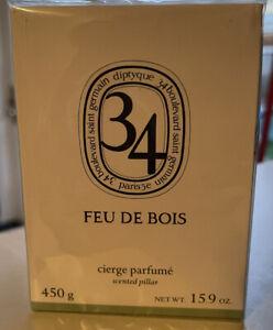 Diptyque Feu De Bois Pillar Candle 450g / 15.9oz New Sealed RARE