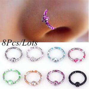 8pcs Nose Open Hoop Sleeper Ring Lip Rings Body Piercing Stainless Steel Jewelry