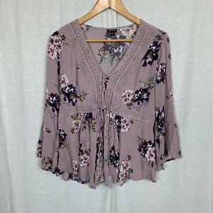 Torrid Women's Lilac Purple Floral Gauze Babydoll Top V Neck Size 00 (Med/Lg)