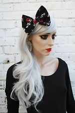Big black hair bow gothique crâne rockabilly loli goth vintage années 50 style kawaii