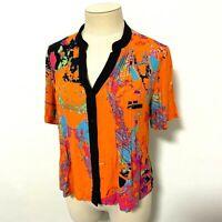 La Strada Size L Orange Top Colourful Abstract Pattern V-Neck Button Down