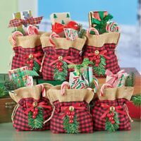 Gingerbread Man and Christmas Tree for Party Favors Christmas Treat Bags 12 Pack 4 x 5 1//2 Burlap Goody Favor Bags with Candy Cane