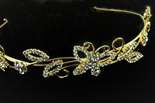 Sparkly butterfly diamante headband tiara gold tone prom bridal party rhinestone