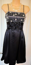 Betsey Johnson Evening Black Beaded Empire Waist Dress~Sz -6~ Gorgeous~