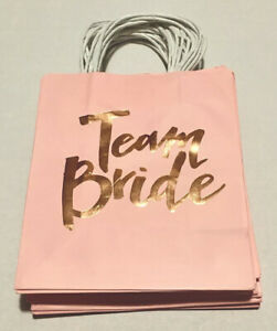 "Wedding Bridal Gift Bags 12 Count Printed Team Bride Pink & Gold  8"" W 9"" H 4"" D"
