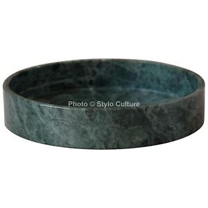 Indian Green Marble Bathroom Round Vanity Tray Unjoined Multipurpose Tray