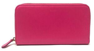 Bally Women's Morissa Raspberry (Pink) Blush Leather Long Zip Around Wallet