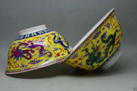 A pair Chinese qianlong mark hand-painted dragon famille rose porcelain bowl