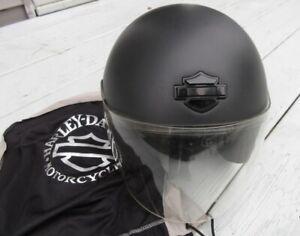 HARLEY DAVIDSON L JET II MATTE 3/4 Helmet w Clear Face Shield & Bag DOT 98012-06