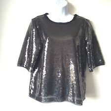 ZARA Women Grey Sequin Sparkly Party Blouse TShirt Boxy SportLuxe 12 14 Evening