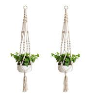 Macrame Plant Hangers Indoor White Cotton Rope Flower Pot Hanging Hot