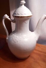"Royal Copenhagen Coffee Pot White Gold Fan 9"" tall Rare"