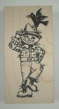 Scarecrow Wood Mounted Rubber Stamp, Judikins, 3742F, Crow, Fall, Autumn, Straw