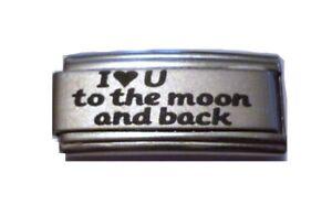 9mm Italian Charm L7 I love U you to the moon Fits Classic Size Bracelet