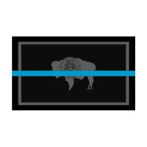 Wyoming WY State Flag Thin Blue Line Police Sticker / Decal #289 Made in USA