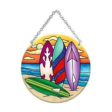Joan Baker Designs COLORFUL SURFBOARDS Painted Glass Medium Circle Suncatcher