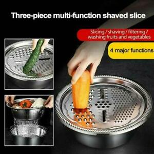 Multifunctional Stainless Steel Basin : Chopping Cutter Strainer Bowl Set