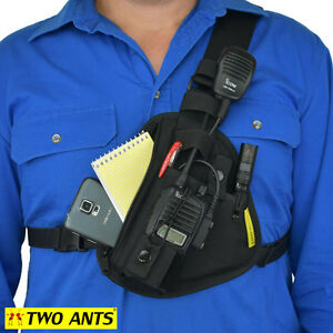 Radio Pouch Chest Harness - Left - Black - Two Ants Pharaoh CT100SLBK