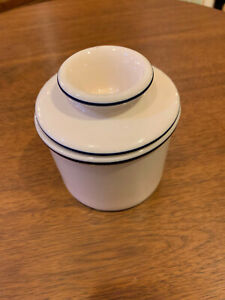 The Original Butter Bell Crock by L. Tremain 2006 Cream White with Blue Stripes