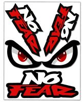 Set 4 Vinile Adesivi No Fear Eyes Occhi Paura Vinyl Sticker Auto Moto Casco Bici