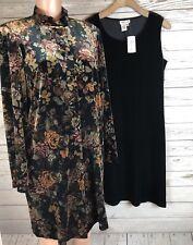 Coldwater Creek M Floral Velvet Velour Stretch Jacket Coat Dress  Set Of 2    t6