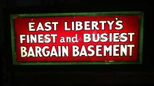 1940s Reverse Painted Glass Sign EAST LIBERTY BARGAIN BASEMENT Backlit light box