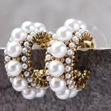 Vintage Claw Stud Pearl Circle Earrings Women Drop Dangle Jewelry Gift Q