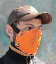 Leather orange mask with replaceable filling handmade manual double seam for man