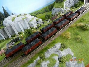 Spur N; 10-tlg. Kohletransport Güterzug Niederbordwagen, DB, Rc