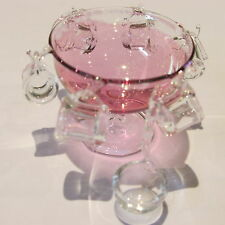 Dollhouse miniature glass punch bowl & glasses ~ 1/12th scale