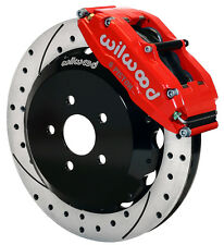 "WILWOOD DISC BRAKE KIT,FRONT,SUBARU,SAAB,WRX,ETC,13"" DRILLED ROTORS,RED CALIPERS"
