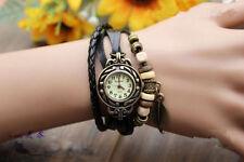 Retro klassisch Damen Armbanduhr Bracelet Weave Wrap Quarz Leder Uhren watches