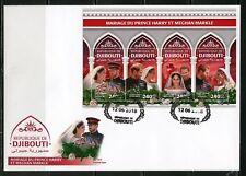 DJIBOUTI  2018 MARRIAGE OF PRINCE HARRY & MEGHAN  MARKLE SHEET FDC
