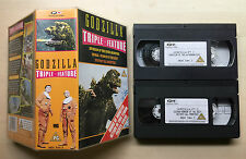 GODZILLA - TRIPLE FEATURE - TOHO STUDIOS - DOUBLE VHS VIDEO PACK