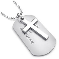 Men's Necklace Army Style Cross Tags Dog Tag Alloy Pendant with 68cm Chain E2O7