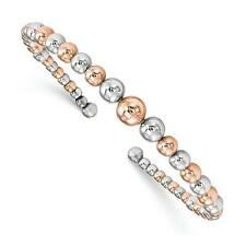 Rose Gold Sterling Silver Graduated Bead Design Flexible Cuff Bangle Bracelet
