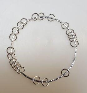 Handmade Hammer Finish Solid Sterling Silver Rings  Bangle