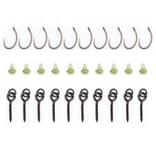 4X(10set 30pcs Carp Fishing Hook Accessories Screw Peg Hook with Ring Swivel Q4