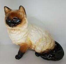 "Vntg 6"" Large Norcrest Siamese Persian Ceramic Himalayan Kitten/Cat"