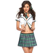 Costume Écossais d'Écolière Sexy Vert Taille XS/S