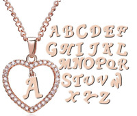 Rose Gold Love Heart Initial CZ Crystal Letter Alphabet Charm Pendant Necklace
