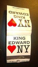 "OLD Vintage ""KING EDWARD 'loves"" NY ""Cigars. . matchbook.MADE IN USA"