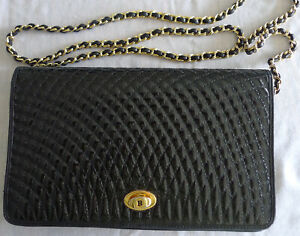 BALLY Italy Quilted Patent Leather Black Clutch or Shoulder Bag w/ Gold Chain