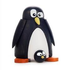 PINGUIN mit Baby NEU Erzgebirge Holz Volkskunst Figur Tiere Eis Schnee Winter