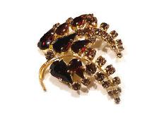 Bijou alliage doré broche intemporelle  feuillage cristal multicolore brooch