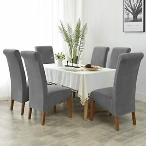 XL Chair Covers Stretch Spandex High Back Chair Slipcover Dining Room Dark Grey