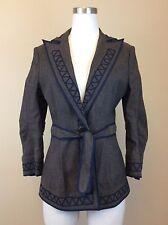 BCBG MAXAZRIA Women's Brown w/ Navy Embroidery Front Tie Blazer Size SMALL