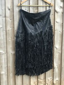 NWT very 100% soft Nappa leather tiered fringed midi skirt size: 16
